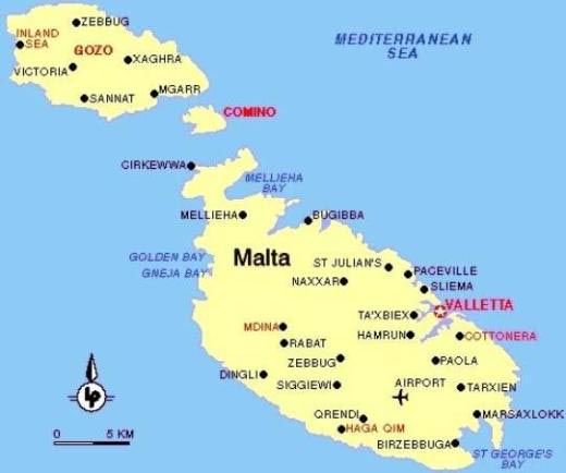 Karte Malta